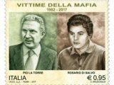 Nell'aprile di 35 anni fa (1982) caddero vittime di un classico agguato mafioso a Palermo il deputato comunista Pio La Torre ed il suo piu' giovane compagno di partito Rosario di Salvo: il 28 aprile prossimo saranno ricordati insieme in un francobollo da 95 centesimi, appartenente alla serie tematica ''Il senso civico''.  ANSA/POSTE ITALIANE +++EDITORIAL USE ONLY - NO SALES+++